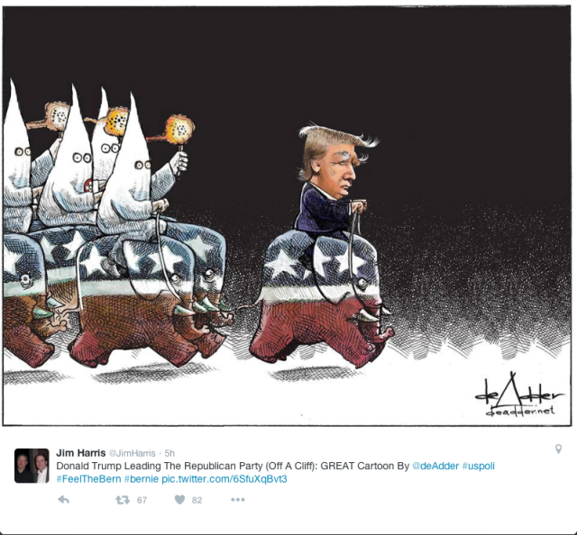Cartoon of Donald J Trump riding an elephant, leading a charge of KKK dissguised white sheeted guys riding elephants behind him.