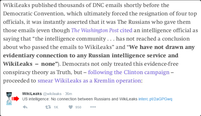 US Intelligents reports that WikiLeaks is not an arm of Russian Intelligence.